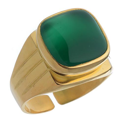 Anello vescovile argento dorato 800 agata verde 1