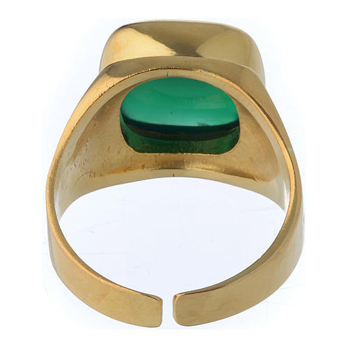 Anello vescovile argento dorato 800 agata verde 5