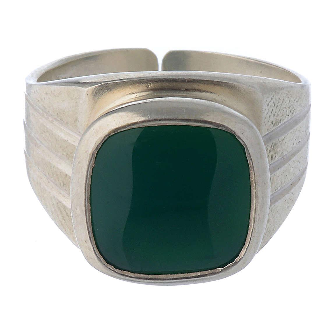Anillo episcopal plata 800 y ágata verde 3