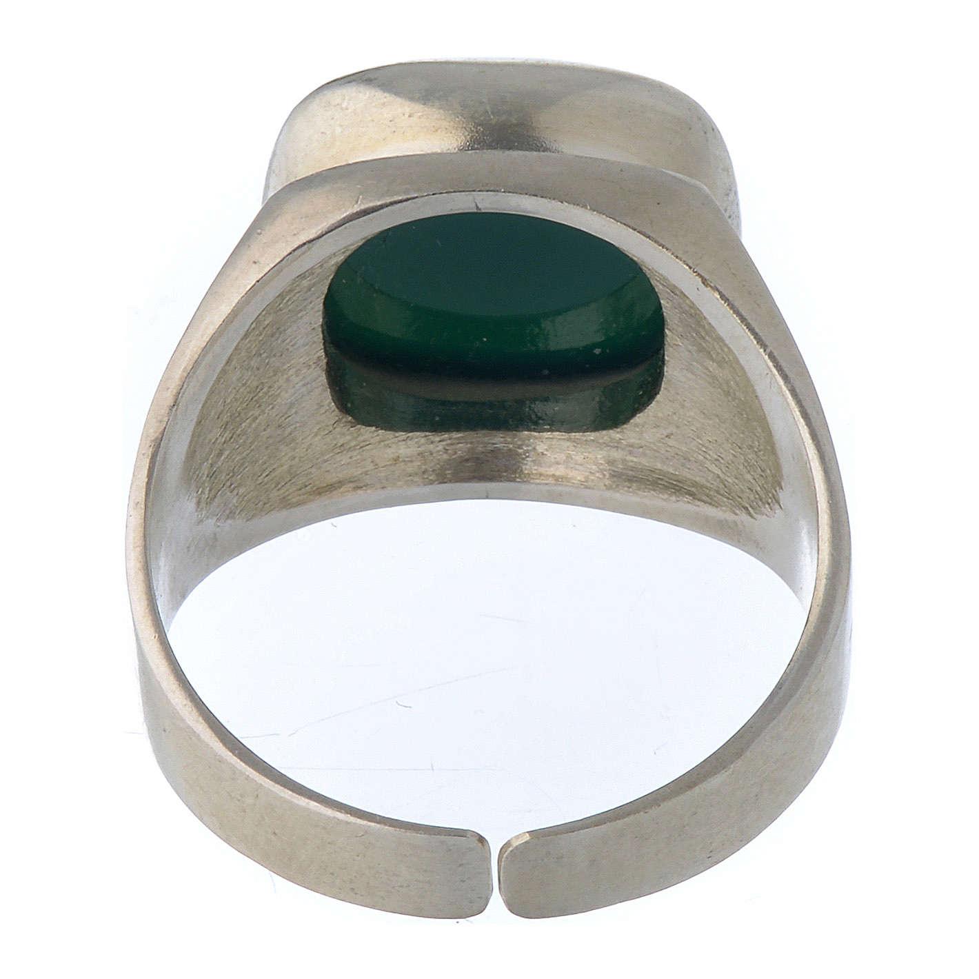 Anello vescovile argento 800 e agata verde 3