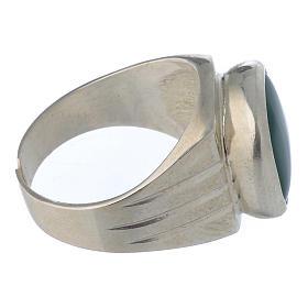 Anello vescovile argento 800 e agata verde s3