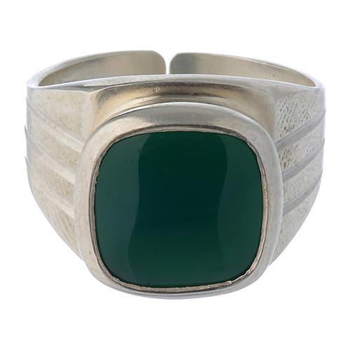 Anello vescovile argento 800 e agata verde 2
