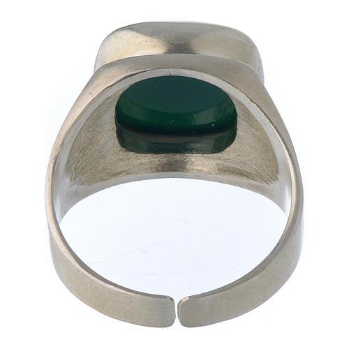 Anello vescovile argento 800 e agata verde 5