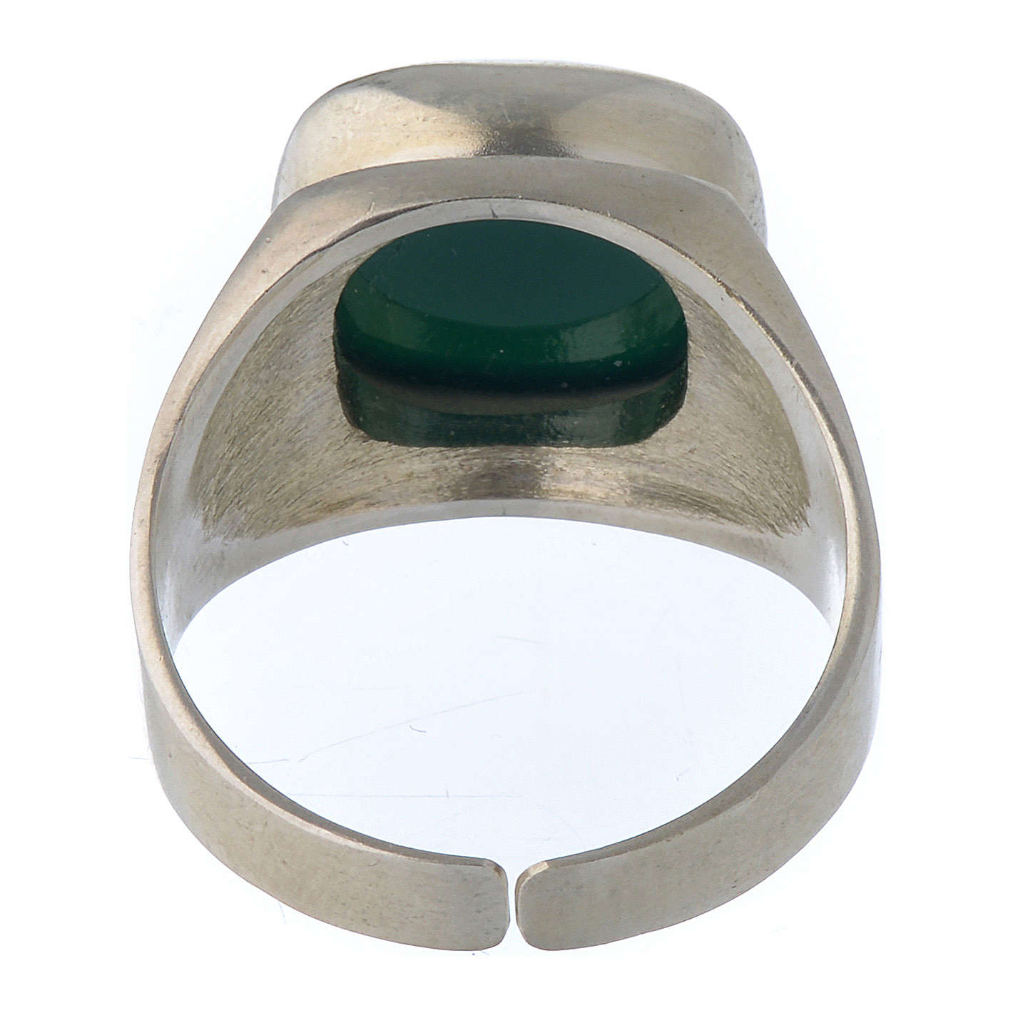 Bishop's Ring Silver 800 with green agate stone 3
