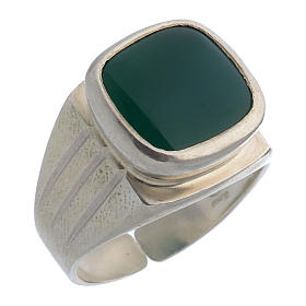 Bishop's Ring Silver 800 with green agate stone s1