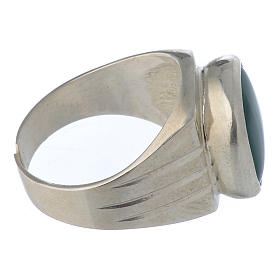 Bishop's Ring Silver 800 with green agate stone s3