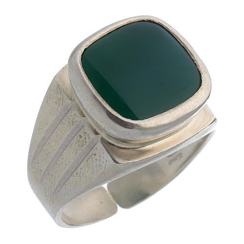 Bishop's Ring Silver 800 with green agate stone 1