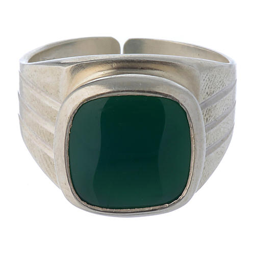 Bishop's Ring Silver 800 with green agate stone 2