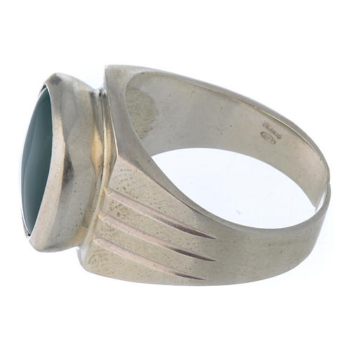 Bishop's Ring Silver 800 with green agate stone 4