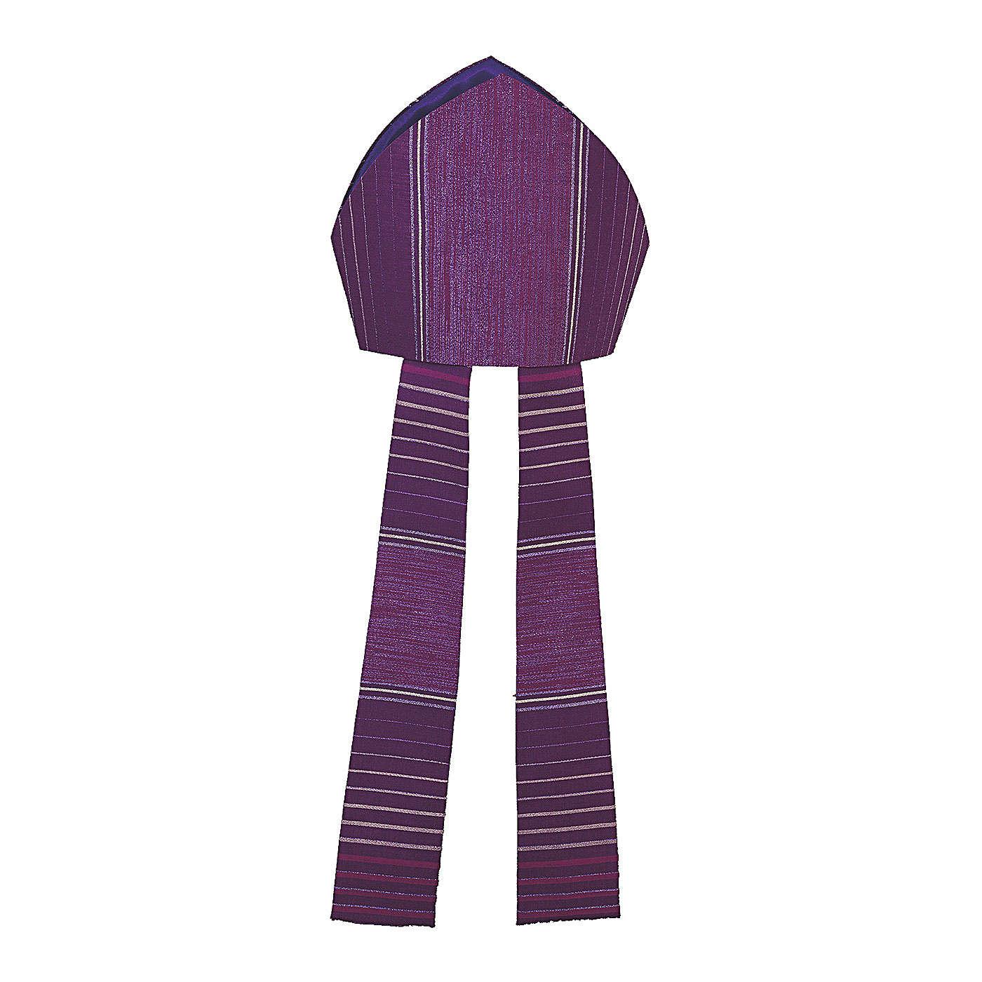 Mitra viola rigata in lana lurex 3
