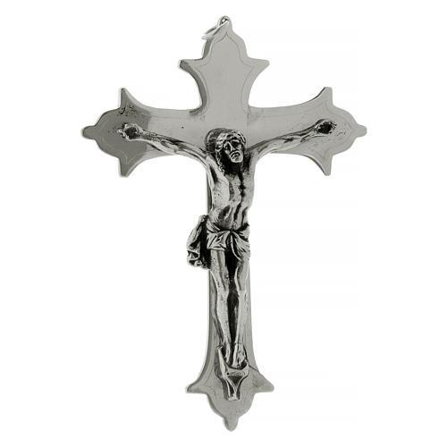 Crocefisso croce vescovile ottone argentato 13 cm 1