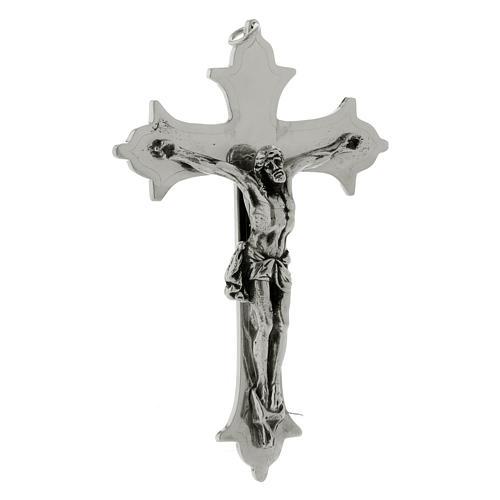 Crocefisso croce vescovile ottone argentato 13 cm 2