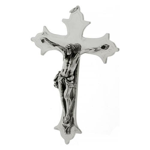 Crocefisso croce vescovile ottone argentato 13 cm 3