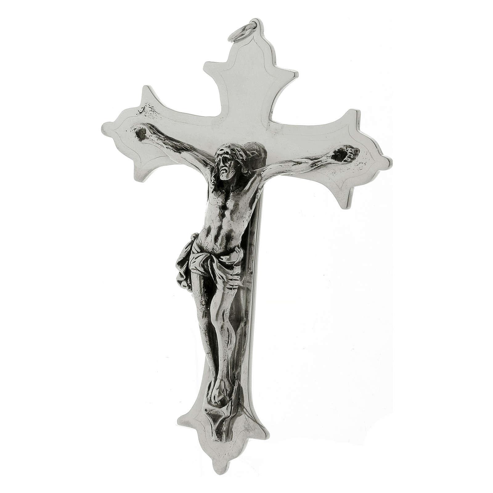 Krucyfiks krzyż biskupi mosiądz posrebrzany 13 cm 3
