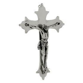 Krucyfiks krzyż biskupi mosiądz posrebrzany 13 cm s2