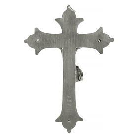 Krucyfiks krzyż biskupi mosiądz posrebrzany 13 cm s4