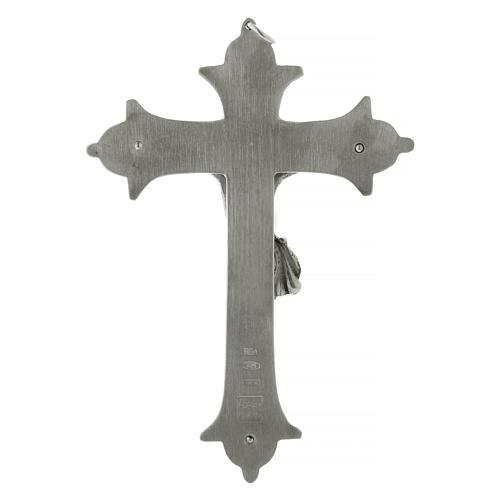 Krucyfiks krzyż biskupi mosiądz posrebrzany 13 cm 4