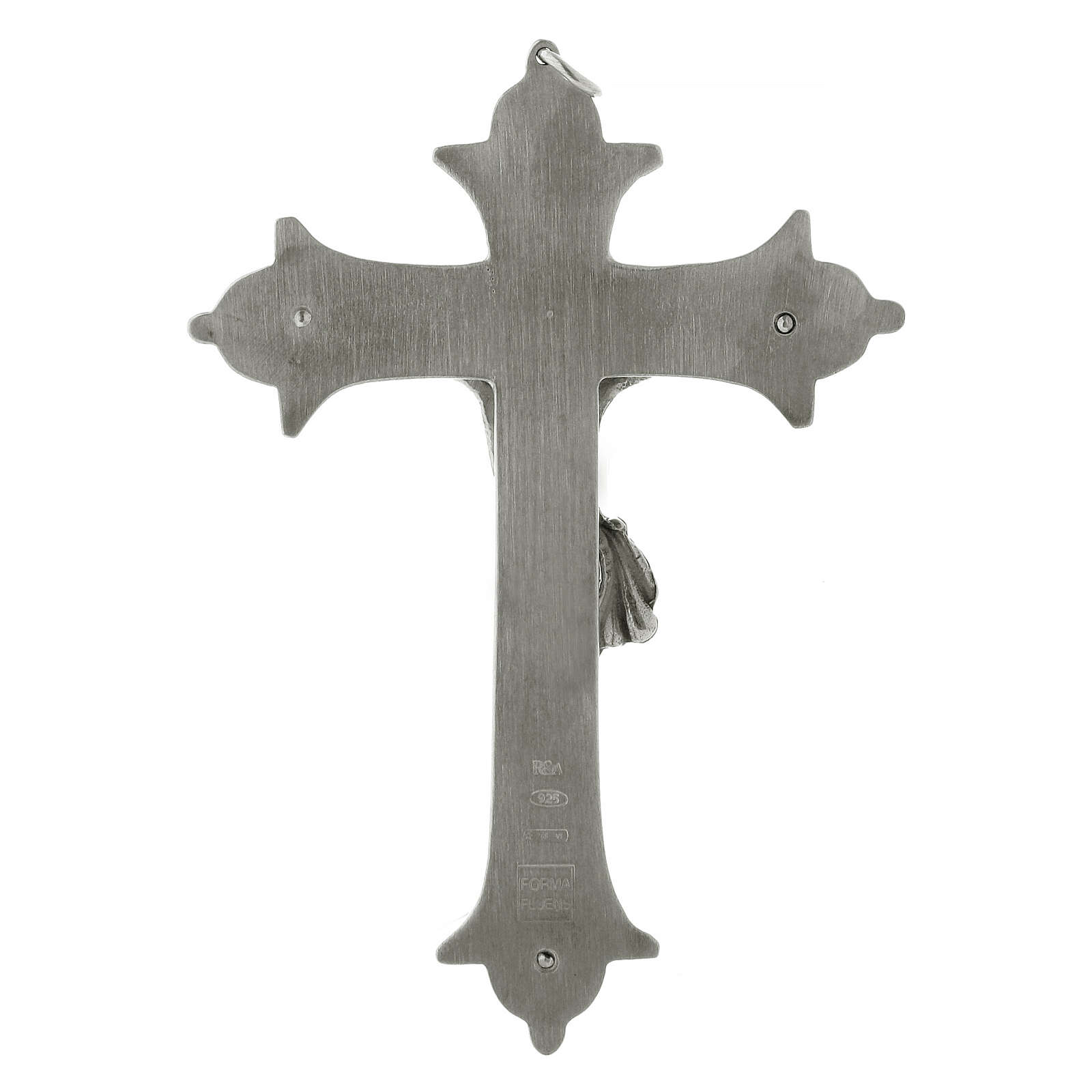 Bishop cross with crucifix in silver-plated brass 13 cm 3