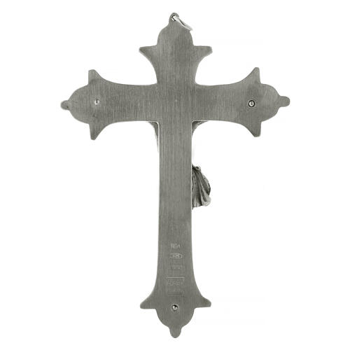 Bishop cross with crucifix in silver-plated brass 13 cm 4