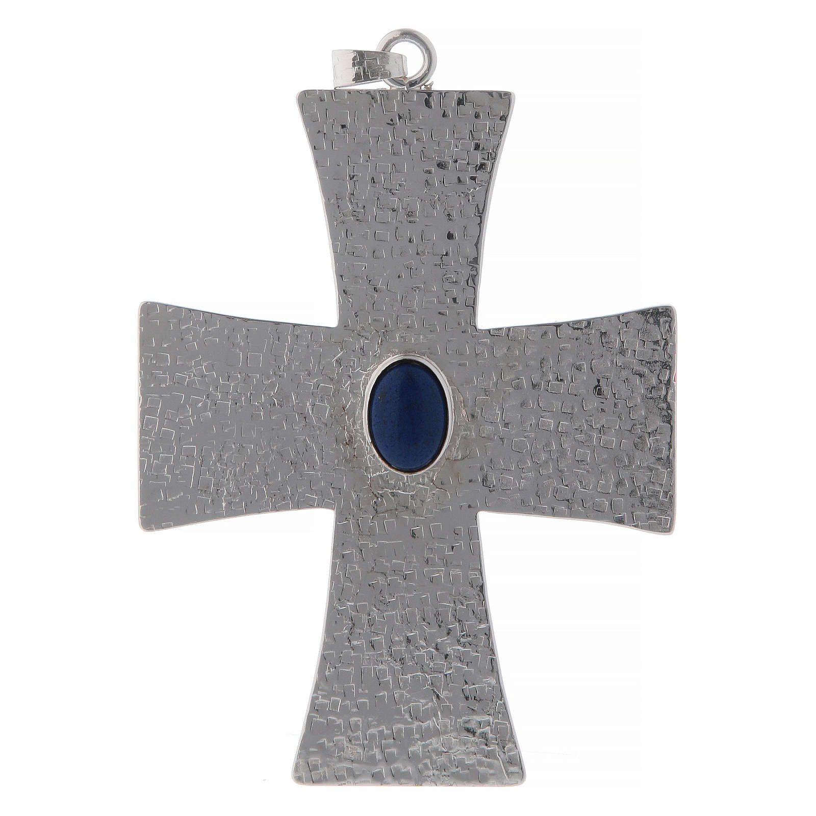 Bishop cross in brass with blue stone 12 cm 3