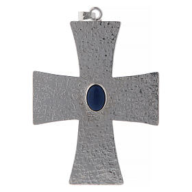 Bishop cross in brass with blue stone 12 cm s1