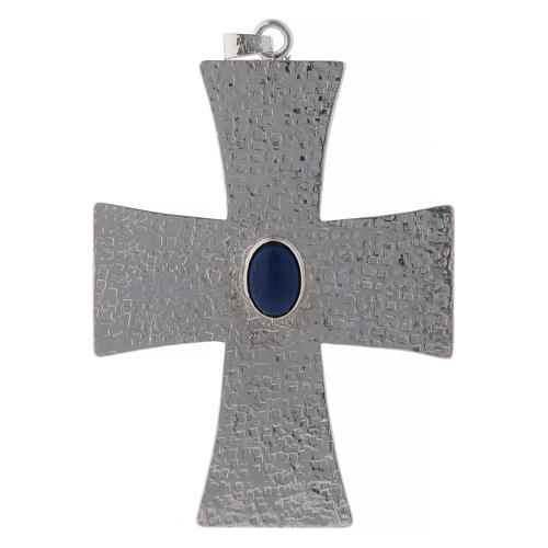 Bishop cross in brass with blue stone 12 cm 1