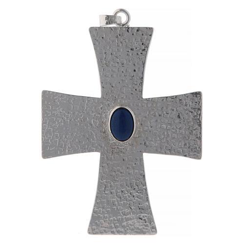 Cruz episcopal con piedra azul 12 cm latón 1