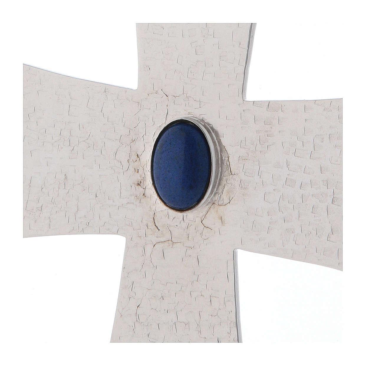 Croce vescovile con pietra blu 12 cm ottone 3