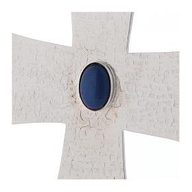 Croce vescovile con pietra blu 12 cm ottone