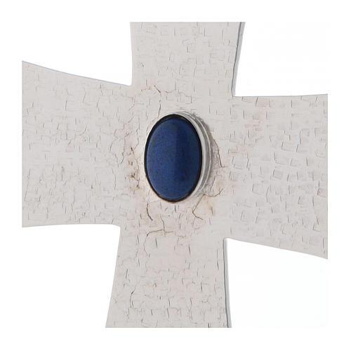 Croce vescovile con pietra blu 12 cm ottone 2