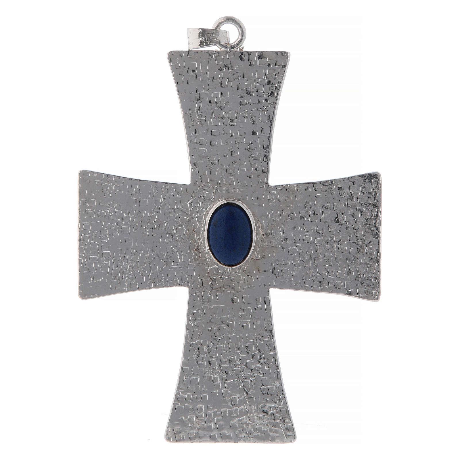 Krzyż biskupi z kamieniem niebieskim 12 cm mosiądz 3