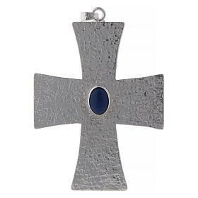 Krzyż biskupi z kamieniem niebieskim 12 cm mosiądz s1