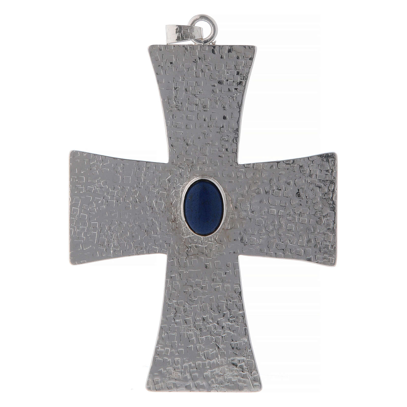 Bishop cross with blue stone, 12 cm in brass 3