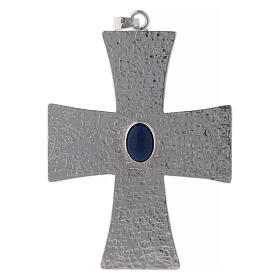Bishop cross with blue stone, 12 cm in brass s1