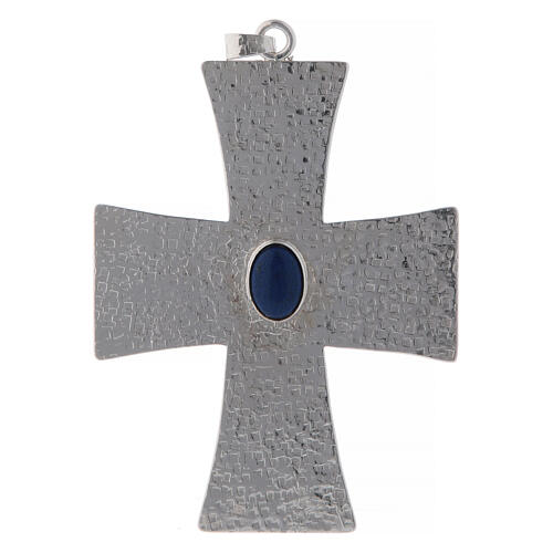 Bishop cross with blue stone, 12 cm in brass 1
