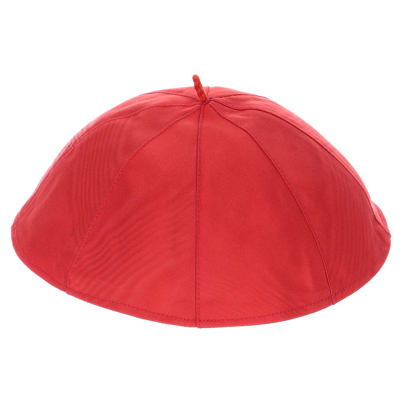 Zucchetto in pura seta color rosso 3