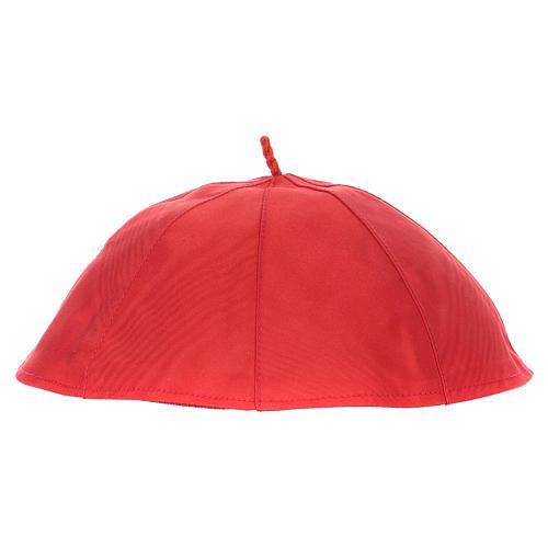Zucchetto in pura seta color rosso 2