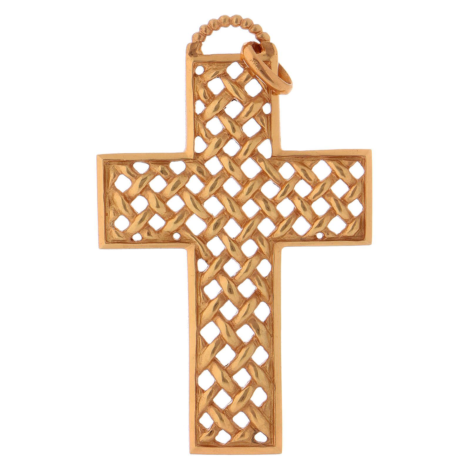 Croix pectorale tressée argent 925 doré 3
