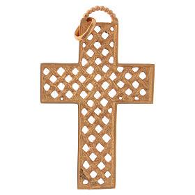 Croix pectorale tressée argent 925 doré s5