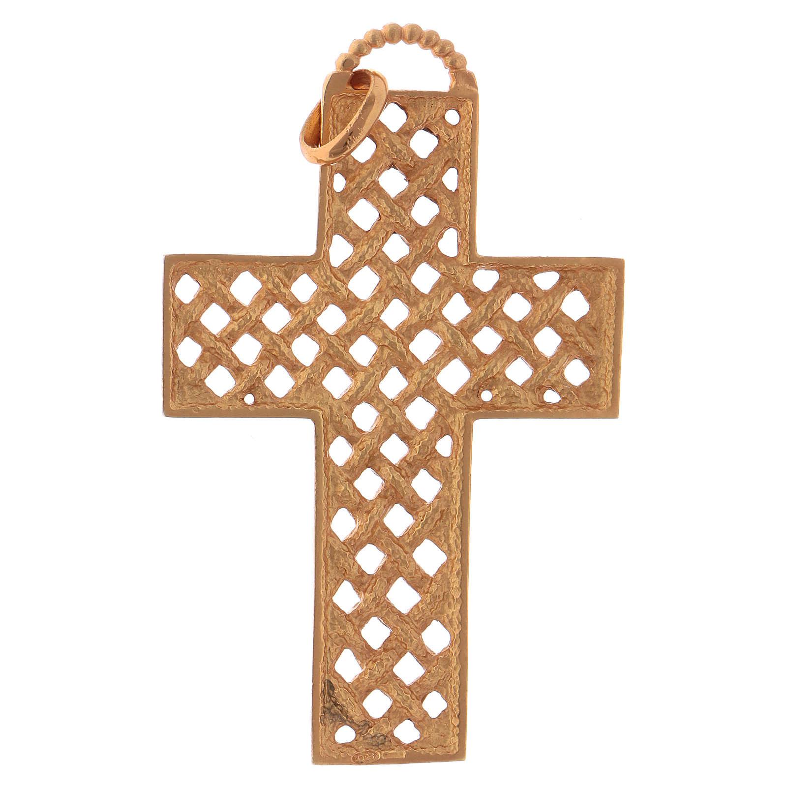 Croce pettorale intrecciata argento 925 dorato 3