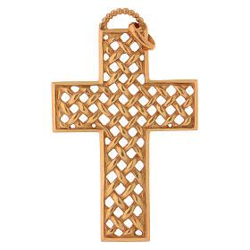 Croce pettorale intrecciata argento 925 dorato s1