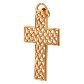 Croce pettorale intrecciata argento 925 dorato s3