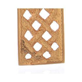 Croce pettorale intrecciata argento 925 dorato s4