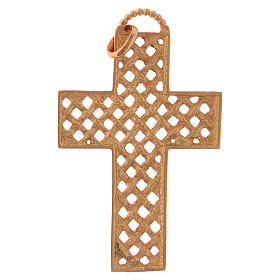 Croce pettorale intrecciata argento 925 dorato s5