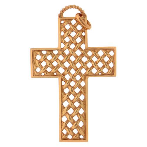 Croce pettorale intrecciata argento 925 dorato 1