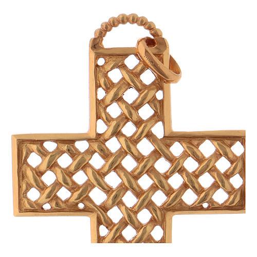 Croce pettorale intrecciata argento 925 dorato 2