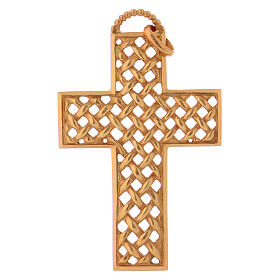 Pectoral cross woven, in gold plated sterling silver s1