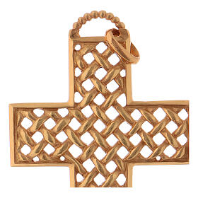 Pectoral cross woven, in gold plated sterling silver s2
