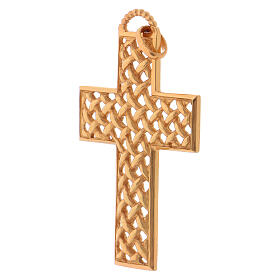 Pectoral cross woven, in gold plated sterling silver s3