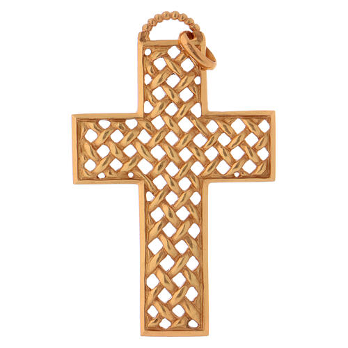 Pectoral cross woven, in gold plated sterling silver 1